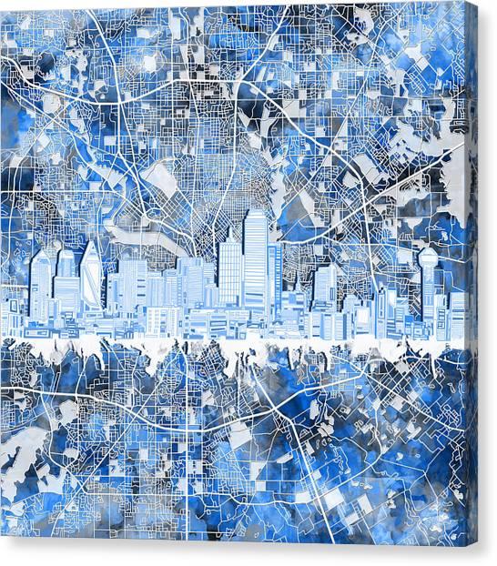 Dallas Skyline Canvas Print - Dallas Skyline Map Blue 5 by Bekim Art