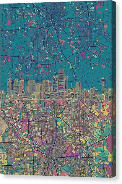 Dallas Skyline Canvas Print - Dallas Skyline Map Green by Bekim Art
