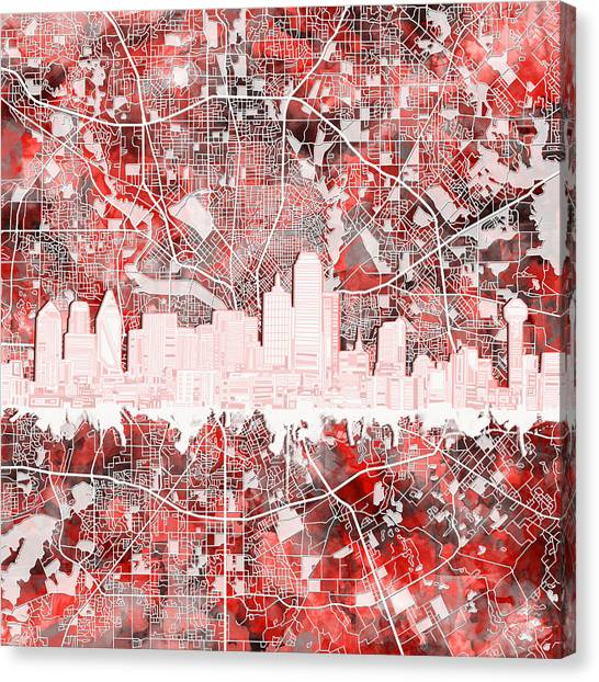 Dallas Skyline Canvas Print - Dallas Skyline Map Red 2 by Bekim Art