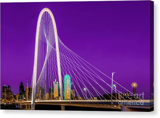 Dallas Skyline Purple Canvas Print