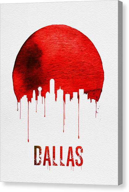 Dallas Skyline Canvas Print - Dallas Skyline Red by Naxart Studio
