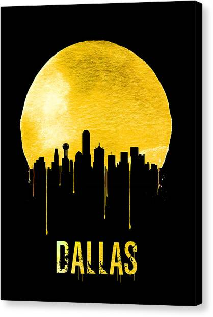 Dallas Skyline Canvas Print - Dallas Skyline Yellow by Naxart Studio