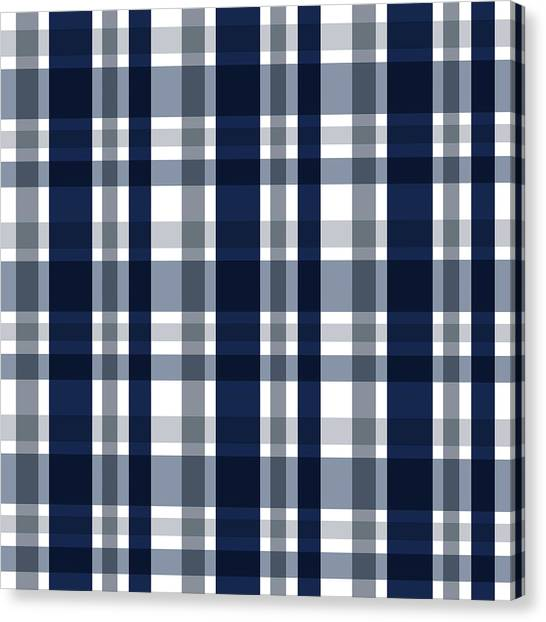 Dallas Sports Fan Navy Blue Silver Plaid Striped Canvas Print