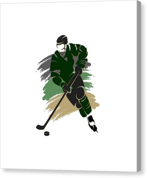 Dallas Stars Canvas Print - Dallas Stars Player Shirt by Joe Hamilton