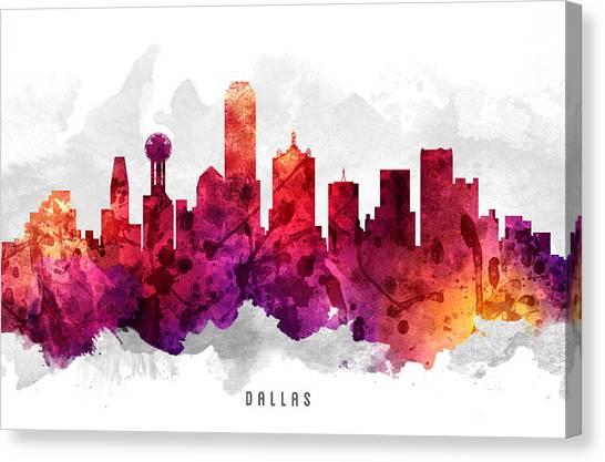 Dallas Skyline Canvas Print - Dallas Texas Cityscape 14 by Aged Pixel