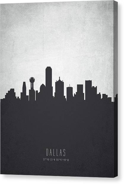 Dallas Skyline Canvas Print - Dallas Texas Cityscape 19 by Aged Pixel