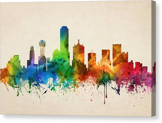 Dallas Skyline Canvas Print - Dallas Texas Skyline 05 by Aged Pixel
