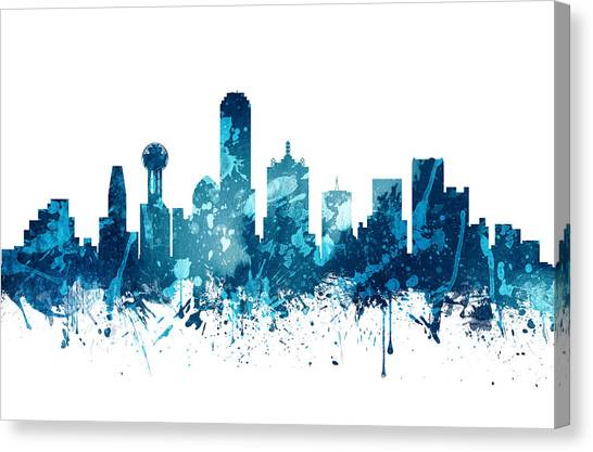 Dallas Skyline Canvas Print - Dallas Texas Skyline 19 by Aged Pixel