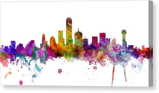 Dallas Skyline Canvas Print - Dallas Texas Skyline Panoramic by Michael Tompsett