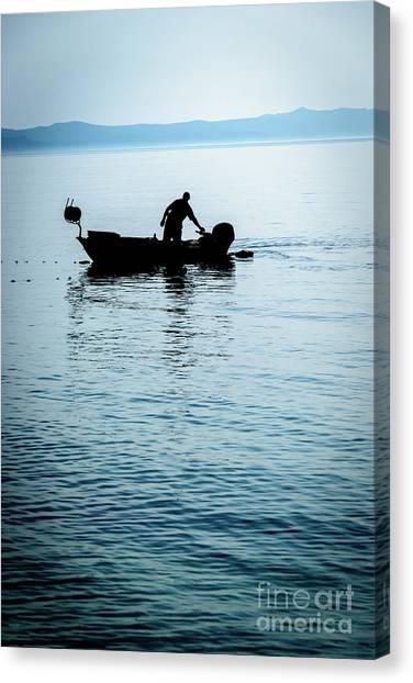 Dalmatian Coast Fisherman Silhouette, Croatia Canvas Print