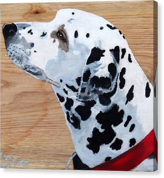 Dalmations Canvas Print - Dalmation On Wood by Debbie LaFrance
