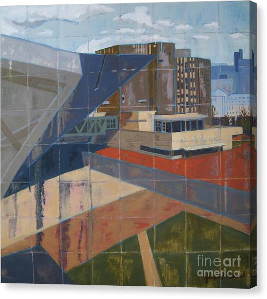 Canvas Print featuring the painting Dam Museum by Erin Fickert-Rowland