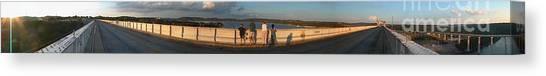 Dam N Lake Travis Panorama Canvas Print by Daniel Henning