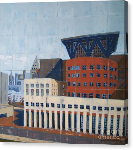 Canvas Print featuring the painting Dam Public Library by Erin Fickert-Rowland