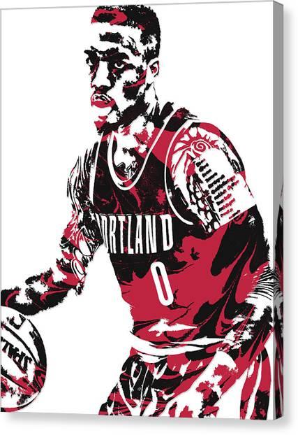 Portland Trail Blazers Canvas Print - Damian Lillard Portland Trail Blazers Pixel Art 10 by Joe Hamilton