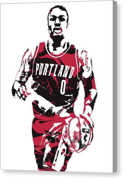 Portland Trail Blazers Canvas Print - Damian Lillard Portland Trail Blazers Pixel Art 12 by Joe Hamilton