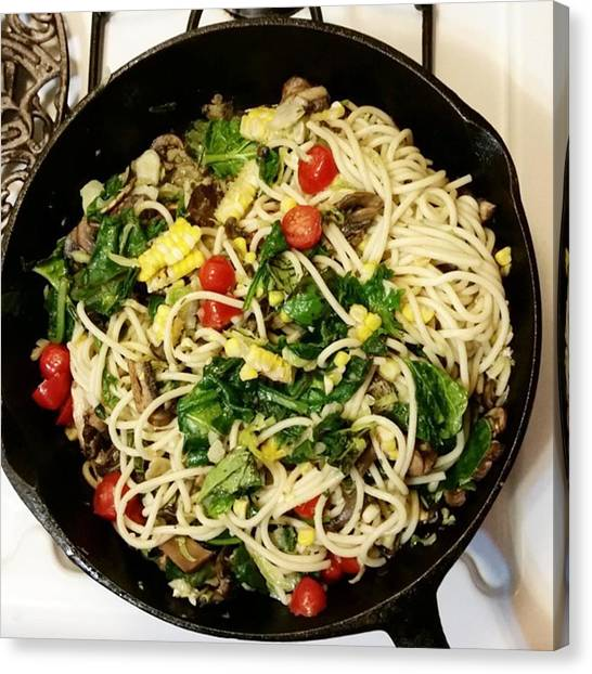 Spaghetti Canvas Print - Damn Tasty #vegetarian Meal: Shredded by Lisa Marchbanks
