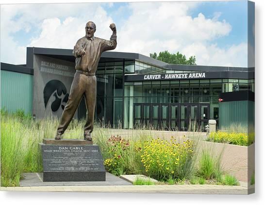 University Of Iowa Canvas Print - Dan Gable Statue by Ken Wolter