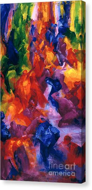 Colorful On Canvas Print - Dance by Bayo Iribhogbe
