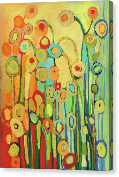 Turquoise Canvas Print - Dance Of The Flower Pods by Jennifer Lommers