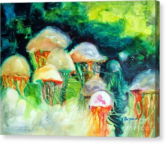 Ocean Life Canvas Print - Dance Of The Jellyfish by Kathy Braud