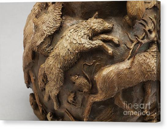 Black-footed Ferret Canvas Print - Dance Of The Seasons - Bronze Wildlife Bowl Detail - Wolf And Jumping Mice by Dawn Senior-Trask