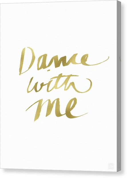 Tango Canvas Print - Dance With Me Gold- Art By Linda Woods by Linda Woods