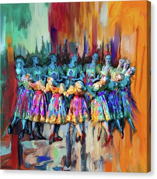 Figure Skating Canvas Print - Dancer 263 2 by Mawra Tahreem