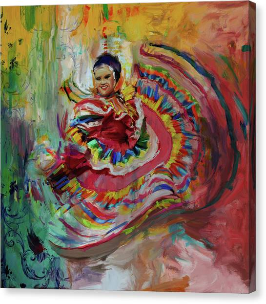 Figure Skating Canvas Print - Dancer 266 1 by Mawra Tahreem