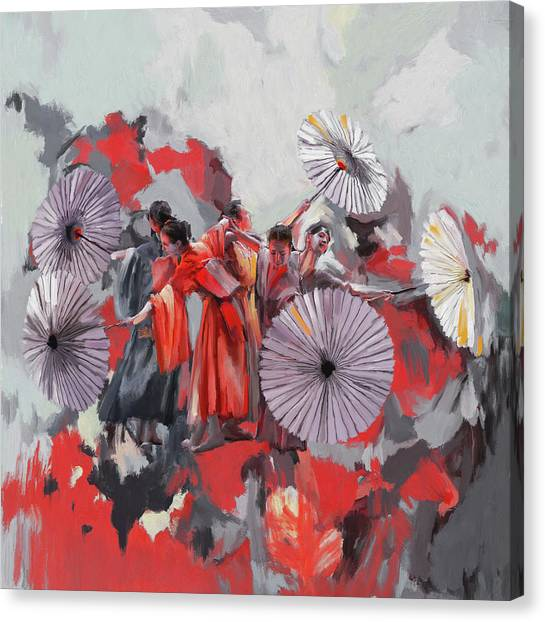 Figure Skating Canvas Print - Dancer 282 2 by Mawra Tahreem