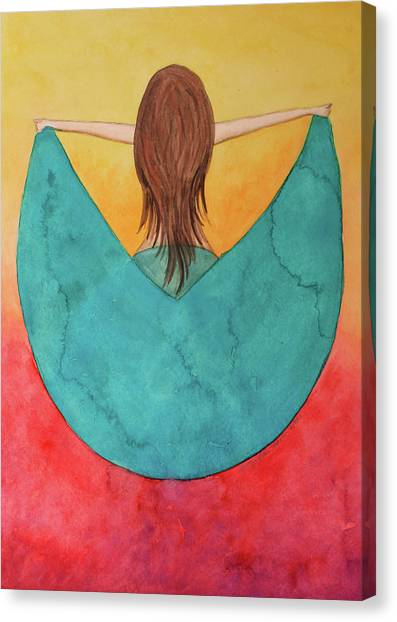 Sigma Gamma Rho Canvas Print - Dancer In The Green Dress by Tammy Groves Thornton