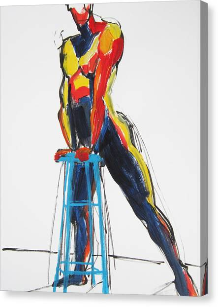Dancer With Drafting Stool Canvas Print