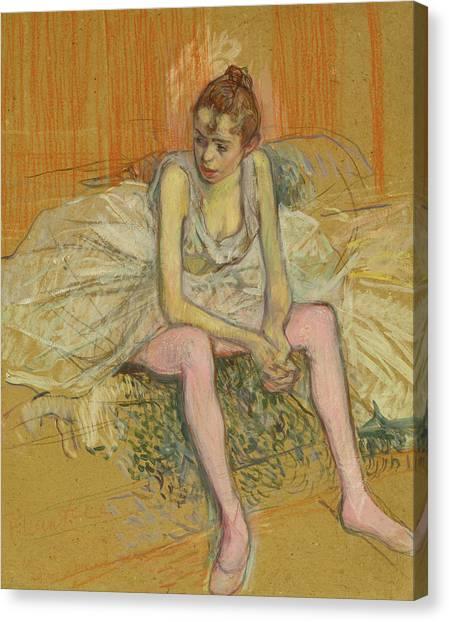 Dance Ballet Roses Canvas Print - Dancer With Pink Stockings by Henri de Toulouse-Lautrec