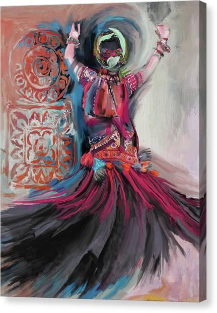 Figure Skating Canvas Print - Dancers 265 3 by Mawra Tahreem
