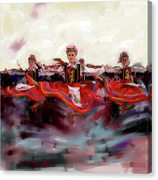 Figure Skating Canvas Print - Dancers 268 2 by Mawra Tahreem