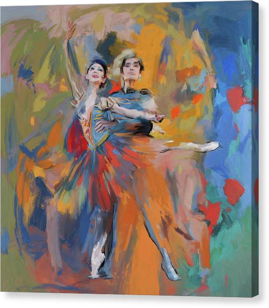 Figure Skating Canvas Print - Dancers 278 1 by Mawra Tahreem