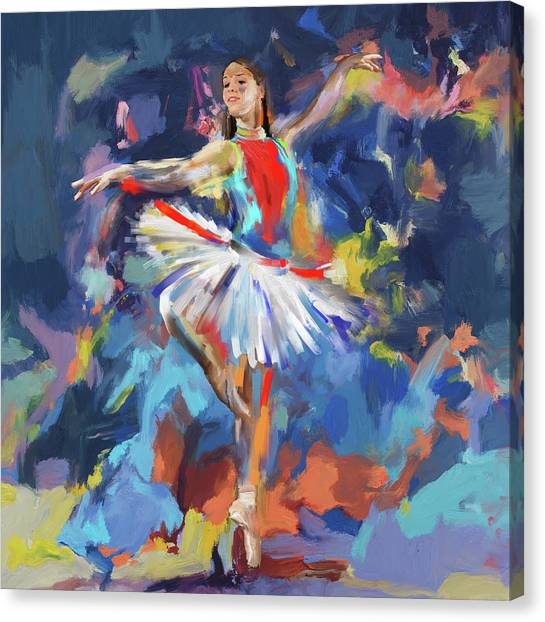 Figure Skating Canvas Print - Dancers 279 1 by Mawra Tahreem