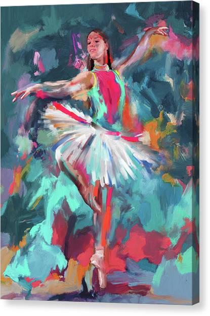 Figure Skating Canvas Print - Dancers 280 2 by Mawra Tahreem