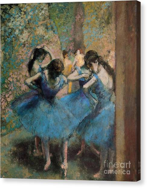 Ballet Canvas Print - Dancers In Blue by Edgar Degas