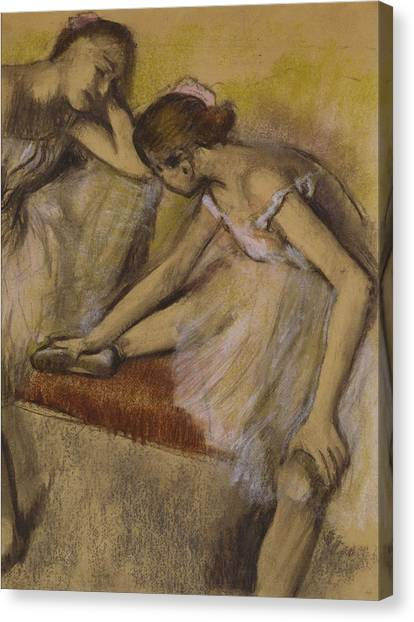 Ballet Shoes Canvas Print - Dancers In Repose by Edgar Degas