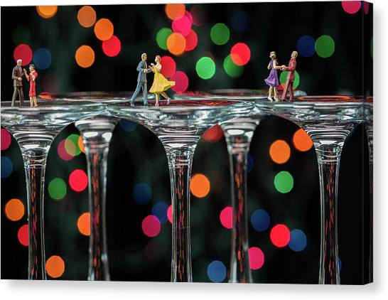 Dancers On Wine Glasses Canvas Print