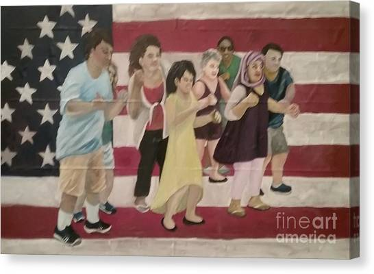 Canvas Print featuring the painting Dancing Americans by Saundra Johnson