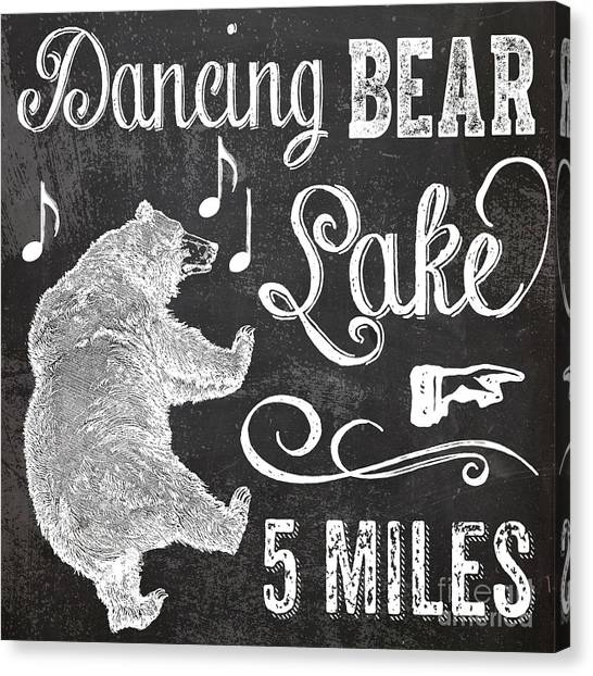 Lake Canvas Print - Dancing Bear Lake Rustic Cabin Sign by Mindy Sommers