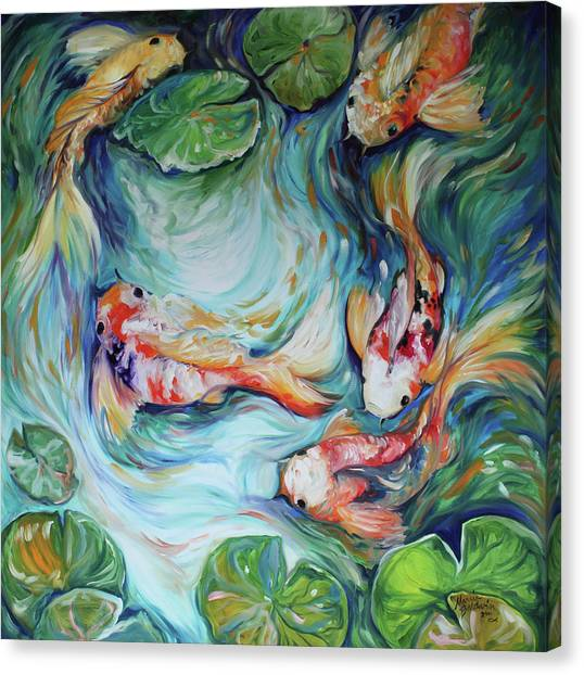 Dancing colors koi ii painting by marcia baldwin for Koi canvas print