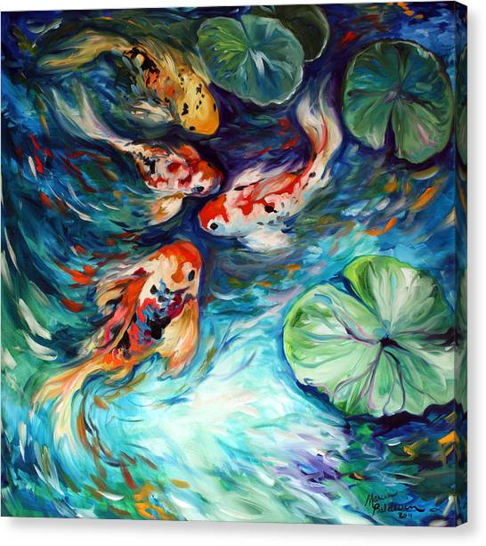 Abstract Lily Canvas Print - Dancing Colors Koi by Marcia Baldwin