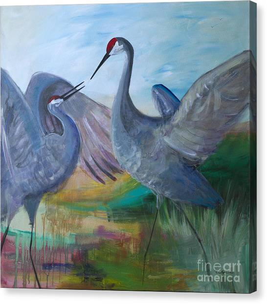 Dancing Cranes Canvas Print