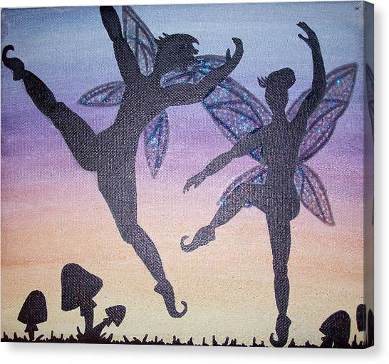Dancing Fairy Couple Canvas Print by Amy Lauren Gettys