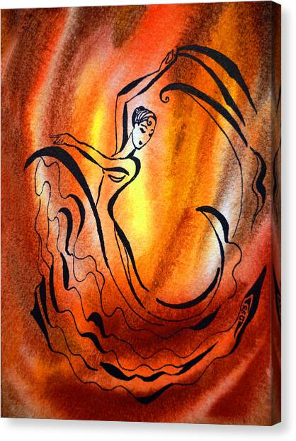 Flamenco Canvas Print - Dancing Fire I by Irina Sztukowski