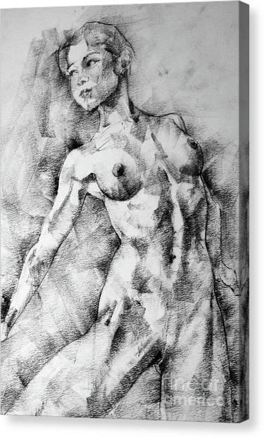 Dancing Girl Drawing Canvas Print