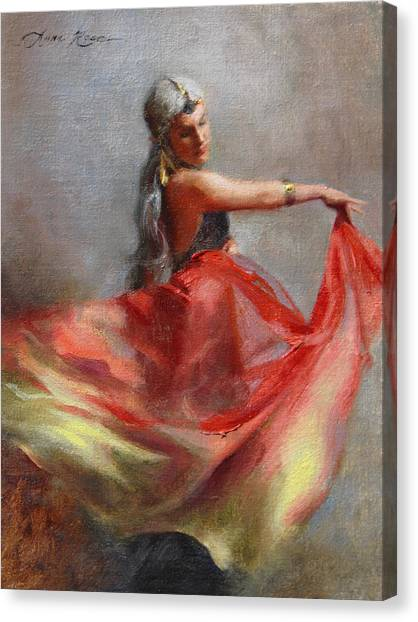 Roman Art Canvas Print - Dancing Gypsy by Anna Rose Bain